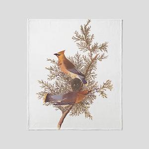 Cedar Waxwing Birds Throw Blanket