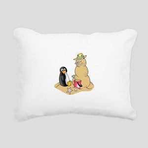 PENGUIN AND SNOWMAN Rectangular Canvas Pillow