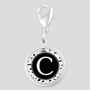 Music Monogram C Silver Round Charm