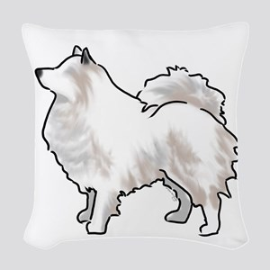 american eskimo Woven Throw Pillow