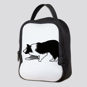 border collie Neoprene Lunch Bag