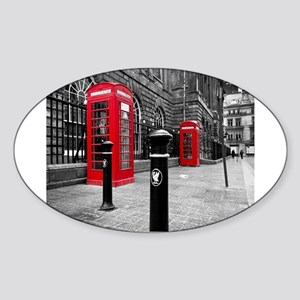 Red British Phone Boxes Sticker (Oval)