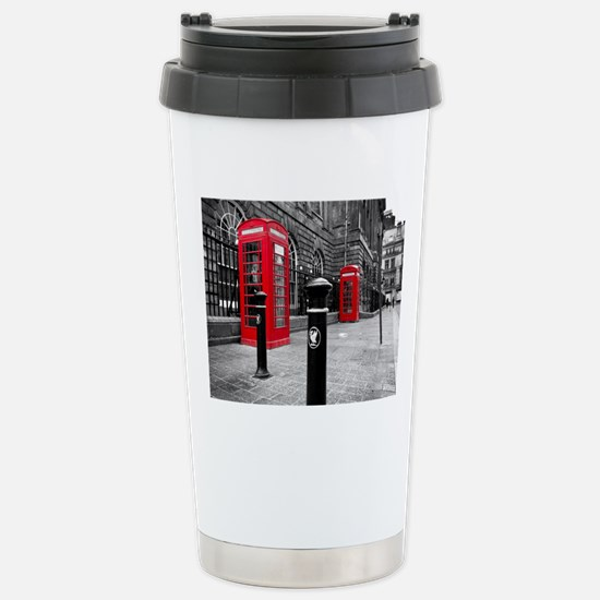 Red British Phone Boxes Stainless Steel Travel Mug