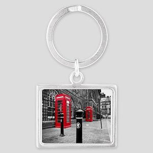 Red British Phone Boxes Landscape Keychain