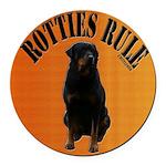 Rotties Bring It & Rule Round Car Magnet