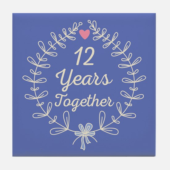 12th Wedding Anniversary Tile Coaster