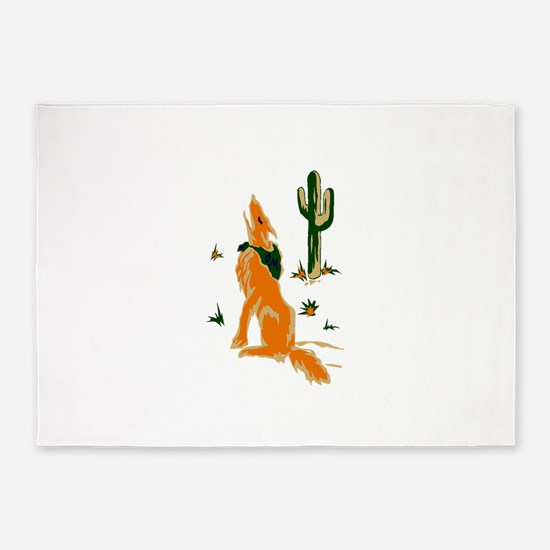 Coyote Howling 5'x7'Area Rug