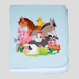 Cartoon Farm Animals baby blanket