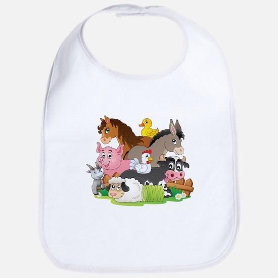 Cartoon Farm Animals Bib