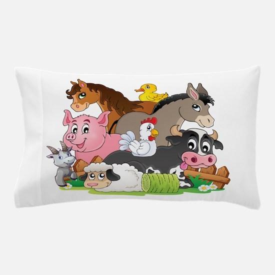 Cartoon Farm Animals Pillow Case