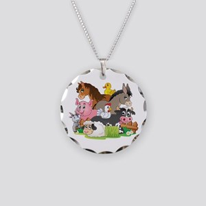 Cartoon Farm Animals Necklace Circle Charm