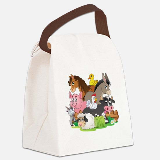 Cartoon Farm Animals Canvas Lunch Bag