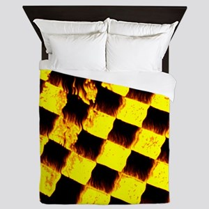 checkered flag on fire Queen Duvet