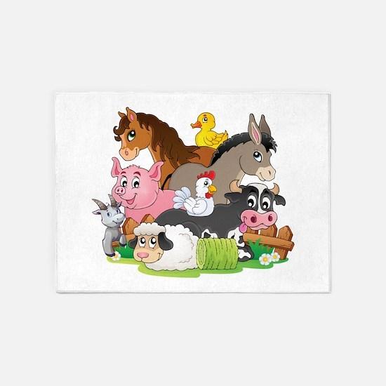 Cartoon Farm Animals 5'x7'Area Rug