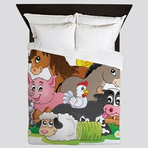 Cartoon Farm Animals Queen Duvet