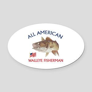 AMERICAN WALLEYE FISHERMAN Oval Car Magnet