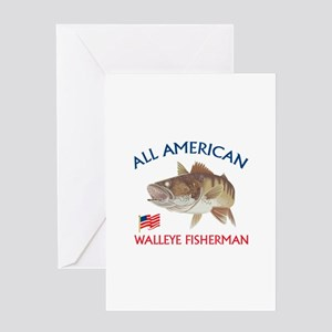 AMERICAN WALLEYE FISHERMAN Greeting Cards