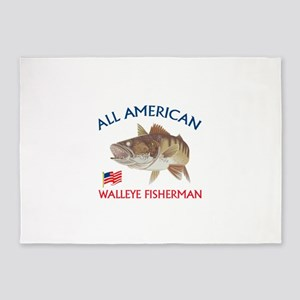 AMERICAN WALLEYE FISHERMAN 5'x7'Area Rug