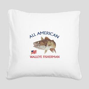 AMERICAN WALLEYE FISHERMAN Square Canvas Pillow