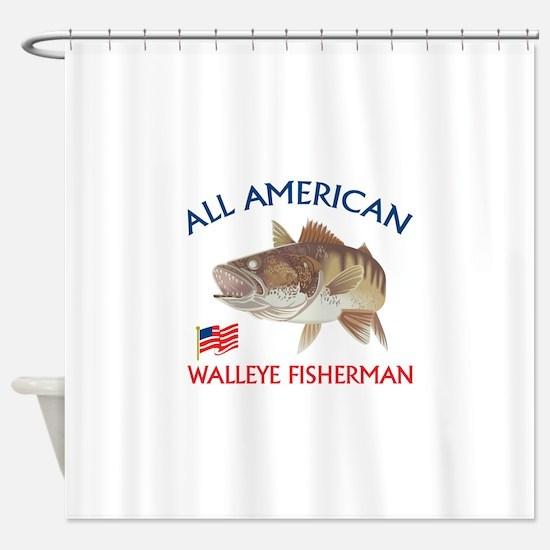 AMERICAN WALLEYE FISHERMAN Shower Curtain