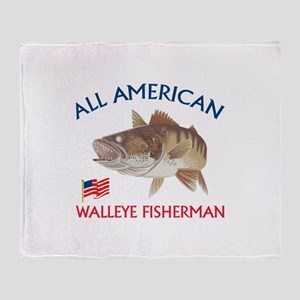 AMERICAN WALLEYE FISHERMAN Throw Blanket