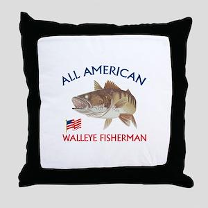 AMERICAN WALLEYE FISHERMAN Throw Pillow