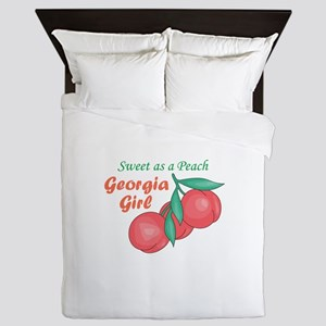 Sweet As A Peach Georgia Gire Queen Duvet
