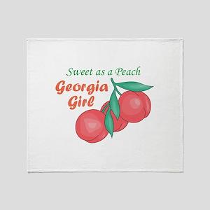 Sweet As A Peach Georgia Gire Throw Blanket