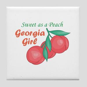 Sweet As A Peach Georgia Gire Tile Coaster