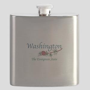 Washington The Evergreen State Flask