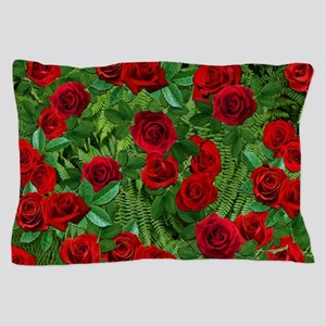 Ferns with Red Roses Pillow Case