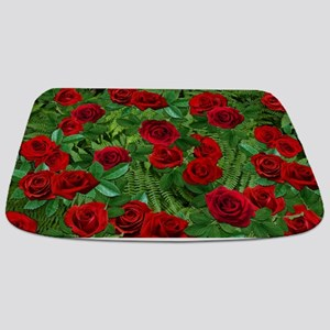 Ferns with Red Roses Bathmat