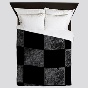 contoured checkered flag Queen Duvet