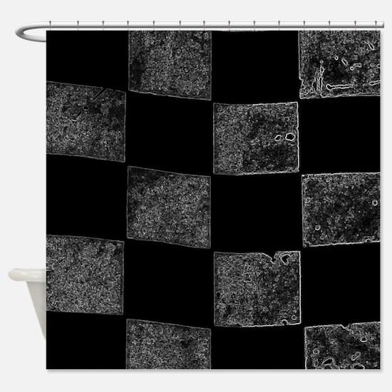 contoured checkered flag Shower Curtain