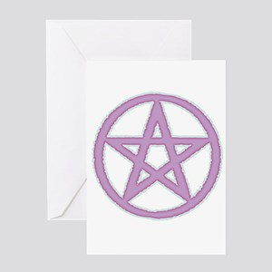 Lilac Puffy Pentagram Greeting Cards