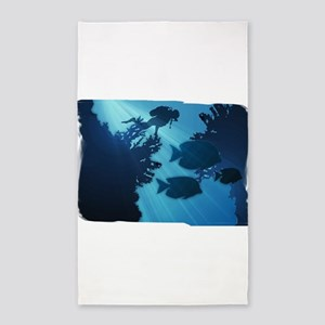 Underwater Blue World Fish Scuba Diver Area Rug