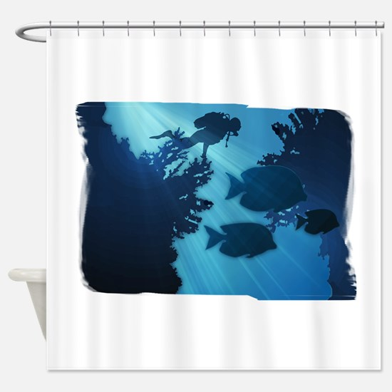 Underwater Blue World Fish Scuba Shower Curtain