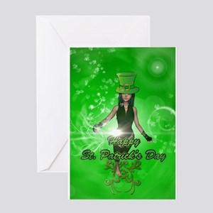 Funny, cool St. Patrick's Day girl with hat Greeti