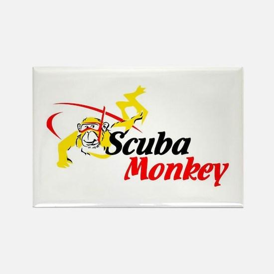 Scuba Monkey Rectangle Magnet