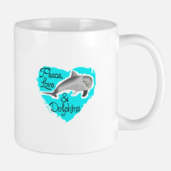 PEACE LOVE AND DOLPHINS Mugs