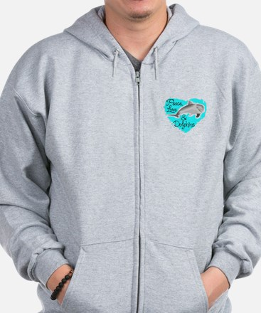 PEACE LOVE AND DOLPHINS Zip Hoodie