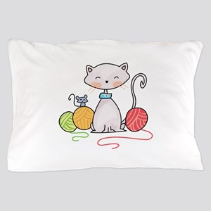 YARN WITH CAT AND MOUSE Pillow Case