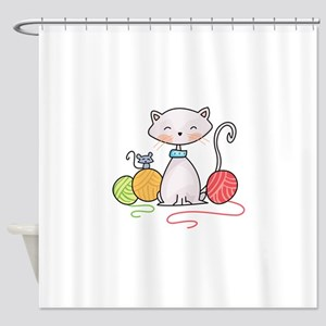 YARN WITH CAT AND MOUSE Shower Curtain
