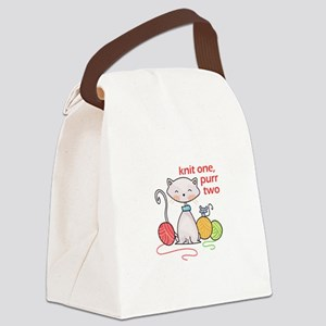 KNIT ONE PURR TWO Canvas Lunch Bag