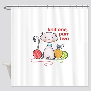 KNIT ONE PURR TWO Shower Curtain