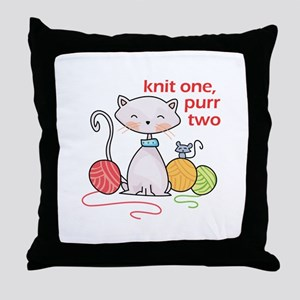 KNIT ONE PURR TWO Throw Pillow