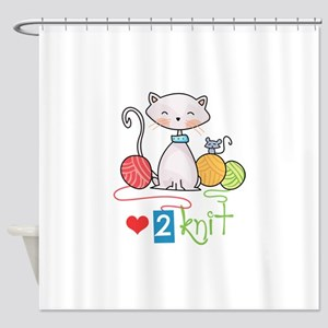 LOVE TO KNIT Shower Curtain