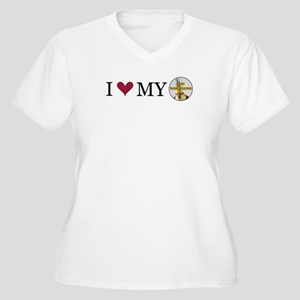 Custom I Love My Women's Plus Size V-Neck T-Shirt