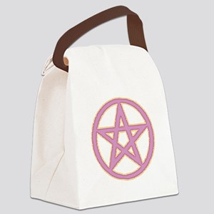Pink & Yellow Puffy Pentagram Canvas Lunch Bag