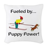 Fueled by Puppy Power Woven Throw Pillow